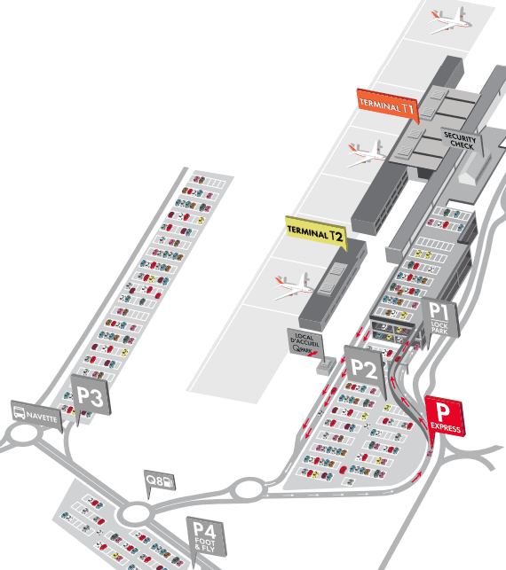 Charleroi Airport parking map